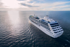 Aerial view of cruise liner sailing in the open sea Stock Images