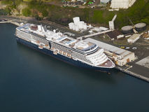 Aerial view of a cruise ship docked in the port of Hilo Royalty Free Stock Photography