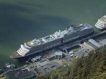 Aerial view of cruise ships docked at the port of Juneau stock photo