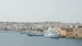 Aerial view of cruise ships in the Port of Valletta. stock video