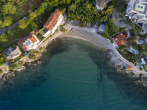 Aerial view of Crystal clear Water at Volosko Beach in Opatija, Stock Photography