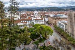 Aerial view of Cuenca city and Park Calderon - Cuenca, Ecuador Royalty Free Stock Image