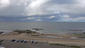 Aerial view of Cullen Bay- Scotland stock footage