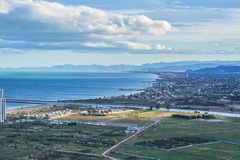 Aerial view of Cullera beach with village skyline in the Mediterranean Valencia of Spain stock image