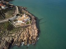 Aerial view of the Cullera lighthouse, Valencia. Spain royalty free stock photo