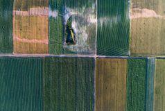 Aerial view of agricultural fields with problematic parts. Aerial view of cultivated agricultural field with green crops and problematic parts of land Royalty Free Stock Image