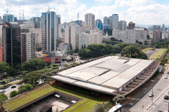 Aerial view of the cultural center of sao paulo. Towers of buildings of local businesses Royalty Free Stock Images