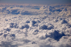 Aerial view of the cumulus clouds. Aerial view of the general cumulus clouds in the blue sky royalty free stock photography
