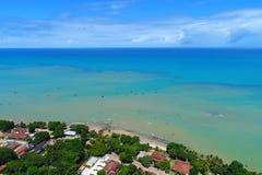 Aerial view of Cumuruxatiba beach, Prado, Bahia, Brazil. Drone view of Cumuruxatiba beach with blue sea and clear weather, Prado city, Bahia state, Brazil stock photo