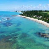 Aerial view of Cumuruxatiba beach, Prado, Bahia, Brazil. Drone view of Cumuruxatiba beach with blue sea and clear weather, Prado city, Bahia state, Brazil stock images