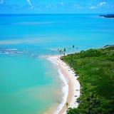 Aerial view of Cumuruxatiba beach, Prado, Bahia, Brazil. Drone view of Cumuruxatiba beach with blue sea and clear weather, Prado city, Bahia state, Brazil royalty free stock image