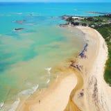 Aerial view of Cumuruxatiba beach, Prado, Bahia, Brazil. Drone view of Cumuruxatiba beach with blue sea and clear weather, Prado city, Bahia state, Brazil stock photography