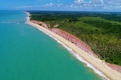 Aerial view of Cumuruxatiba beach, Prado, Bahia, Brazil. Drone view of Cumuruxatiba beach with blue sea and clear weather, Prado city, Bahia state, Brazil stock image