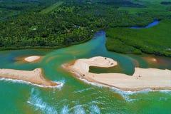 Aerial view of Cumuruxatiba beach, Prado, Bahia, Brazil royalty free stock photo
