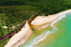 Aerial view of Cumuruxatiba beach, Prado, Bahia, Brazil. Drone view of Cahy bar in Cumuruxatiba beach, Prado, Bahia, Brazil stock image