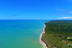 Aerial view of Cumuruxatiba beach, Prado, Bahia, Brazil. Drone view of Cumuruxatiba beach with blue sea and clear weather, Prado city, Bahia state, Brazil stock photos