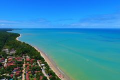 Aerial view of Cumuruxatiba beach, Prado, Bahia, Brazil. Drone view of Cumuruxatiba beach with blue sea and clear weather, Prado city, Bahia state, Brazil royalty free stock images
