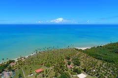 Aerial view of Cumuruxatiba beach, Prado, Bahia, Brazil. Drone view of Cumuruxatiba beach with blue sea and clear weather, Prado city, Bahia state, Brazil royalty free stock photography