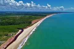 Aerial view of Cumuruxatiba beach, Prado, Bahia, Brazil. Aerial view of Cumuruxatiba, Prado, Bahia, Brazil royalty free stock photo