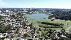 Aerial view footage curitiba city Brazil stock photos