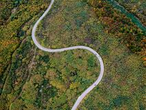 Aerial view of a curly road stock image