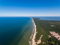 Aerial view of the Curonian Spit. In summer royalty free stock photo