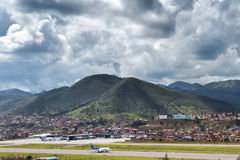 Aerial view of Cusco`s Alejandro Velasco Astete International Airport Royalty Free Stock Image