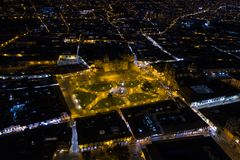 Aerial view of Cusco`s main square `Plaza de Armas` at night. royalty free stock photo