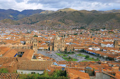 Aerial view of Cuzco city center. Stock Image