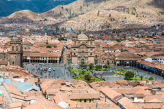 Aerial view of Cuzco city peruvian Andes Stock Photos
