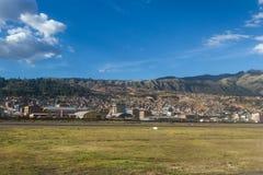 Aerial view of Cuzco Peru stock photo