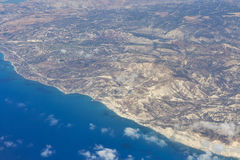 Aerial view of Cyprus south west coast Royalty Free Stock Images