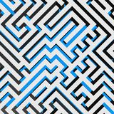 Aerial view of 3D maze labyrinth with blue ground. Vector illustration Royalty Free Stock Photos