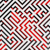 Aerial view of 3D maze labyrinth with red ground. Vector illustration Stock Photos