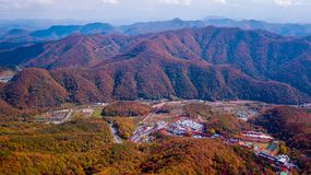 Aerial view of Daedunsan Provincial Park with colorful leafs in stock photos