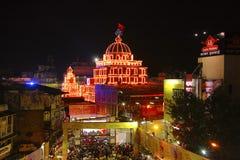 Aerial view of Dagadu Seth Ganapati decorated pandal, replica of Brahmanaspati Temple. Pune Stock Photos