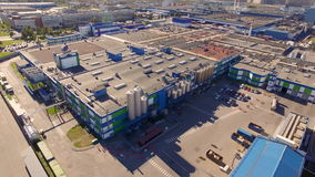 Aerial view of the dairy plant in the industrial area of the city stock video footage