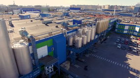 Aerial view of the dairy plant in the industrial area of the city stock video