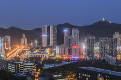 Aerial view of Dalian city night in China. Stock Image