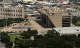 Aerial View - Dallas City Hall Plaza royalty free stock photography
