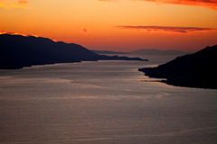Aerial view of Dalmatian islands at sunset Stock Photography