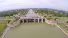 Aerial view of dam and hydroelectric power plant,Thailand stock video footage