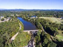 Aerial view of dam stock photography