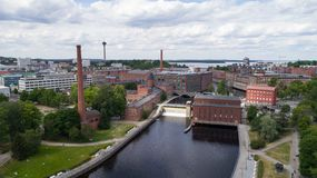 Aerial view of dam in Tampere city center at sunny summer day royalty free stock photos
