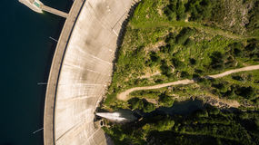 Aerial view of Dam of Vilarinho da Furna on Rio Homem, Portugal Royalty Free Stock Photo
