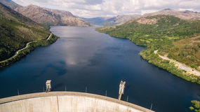 Aerial view of Dam of Vilarinho da Furna on Rio Homem, Portugal. Aerial view of Dam of Vilarinho da Furna Stock Image