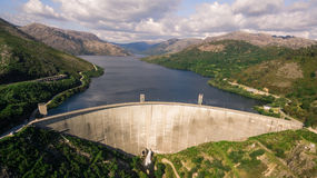 Aerial view of Dam of Vilarinho da Furna on Rio Homem, Portugal. Aerial view of Dam of Vilarinho da Furna Stock Images
