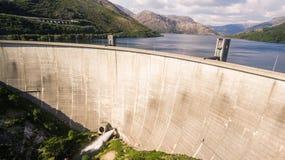 Aerial view of Dam of Vilarinho da Furna on Rio Homem, Portugal. Aerial view of Dam of Vilarinho da Furna Royalty Free Stock Photography