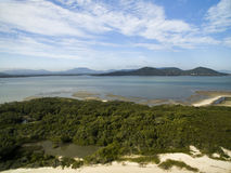 Aerial view Daniela Beach in Florianopolis, Brazil. July 2017. Aerial view Daniela Beach in Florianopolis, Brazil. July, 2017 stock photography