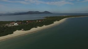 Aerial view Daniela beach, Florianopolis. July, 2017 stock video